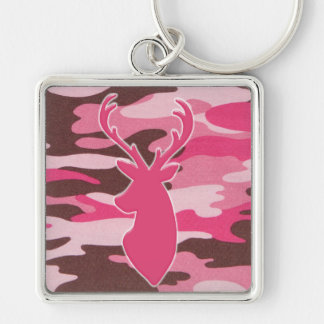 Pink camo deer head key ring