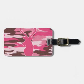Pink camo deer head luggage tag