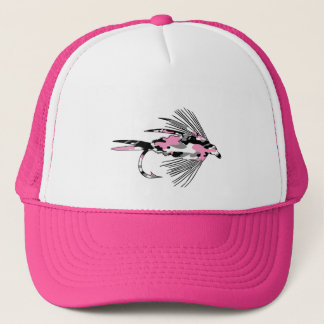 Pink Camo Fly Fishing Lure Trucker Hat