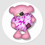 pink camo heart bear round stickers