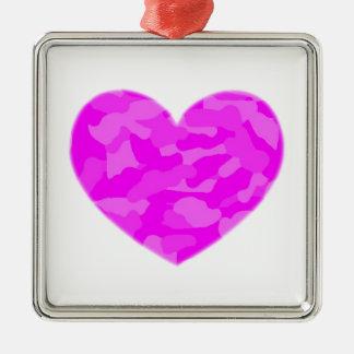 Pink Camo Heart Silver-Colored Square Decoration
