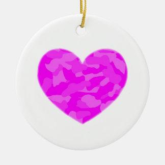 Pink Camo Heart Round Ceramic Decoration