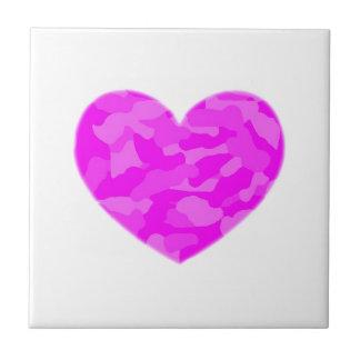 Pink Camo Heart Ceramic Tile