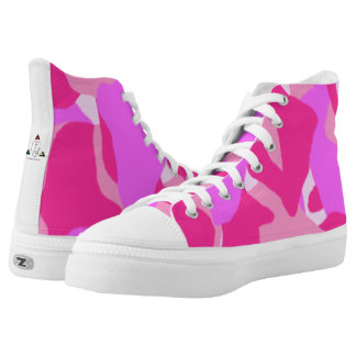 Pink Camo Hi-Top Tennis Shoes Printed Shoes