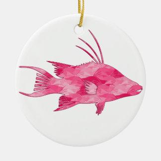 Pink Camo Hogfish Round Ceramic Decoration