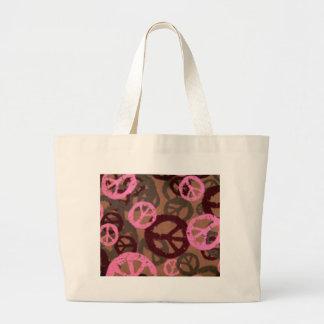 Pink camo-Look Peace Signs Bag