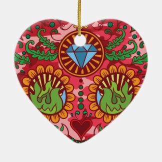 Pink Camo Mexican Day Of The Dead Sugar Skull Ceramic Heart Decoration