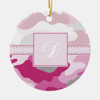 Pink Camo Monogram Christmas Ornament