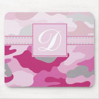 Pink Camo Monogram Mouse Mat