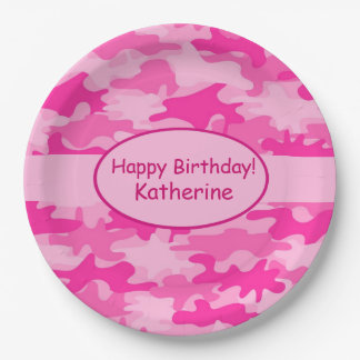 Pink Camo Name Personalized Happy Birthday Party 9 Inch Paper Plate