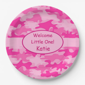 Pink Camo Name Personalized New Baby Girl Paper Plate