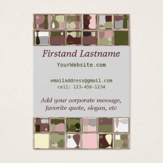Pink Camo Nature Tile Art Custom Business Cards
