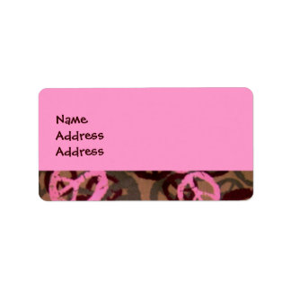 Pink Camo/Peace Signs Look Address Labels