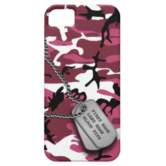 Pink Camo w/ Dog Tags iPhone 5 Covers