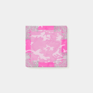 Pink Camo with Faux Glitter Post-it® Notes
