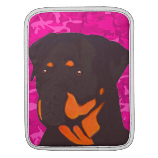 Pink Camo with Rottweiler iPad Sleeve