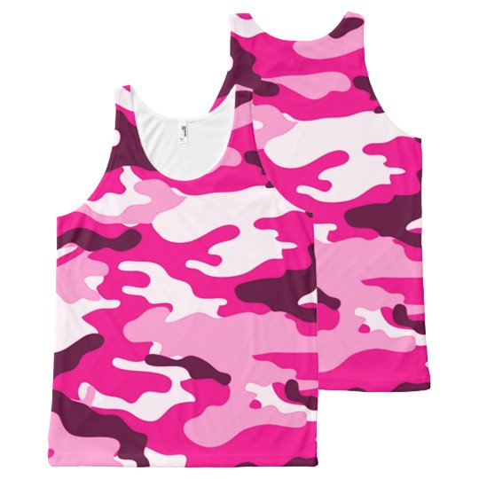 Pink Camouflage All Over Print Tank Top