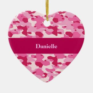 Pink Camouflage Ceramic Heart Decoration