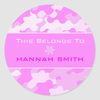 Pink Camouflage Classic Round Sticker