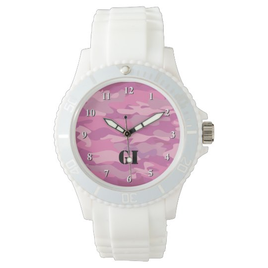 Pink Camouflage colour wrist watch for teen girls