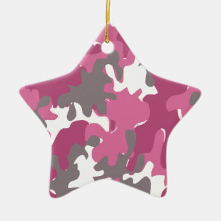 pink camouflage for the strong military woman ceramic star decoration