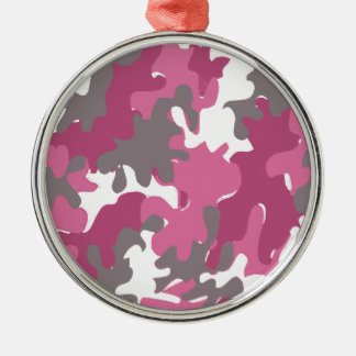 pink camouflage for the strong military woman christmas ornaments