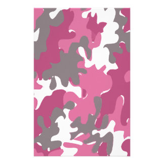 pink camouflage for the strong military woman stationery paper