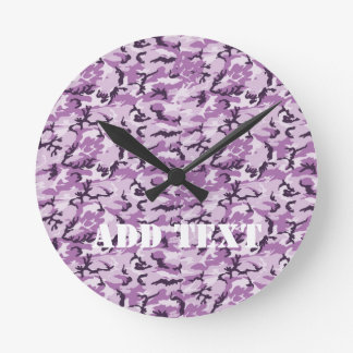 Pink Camouflage Military Pattern Round Clock