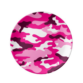 Pink Camouflage Pattern Porcelain Plate