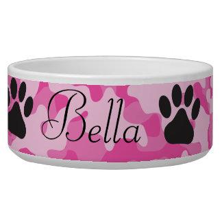 Pink Camouflage Paw Print Dog Bowl