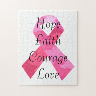 Pink Camouflage Ribbon Faith Puzzle
