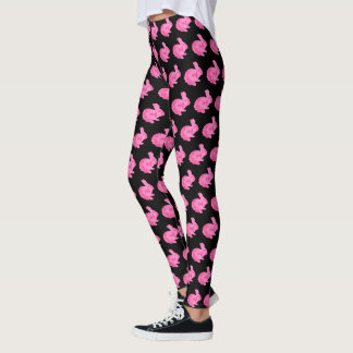 Pink Camouflage Silhouette Bunny Rabbit Leggings
