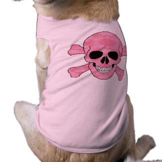 Pink Camouflage Skull And Crossbones Dog Shirt
