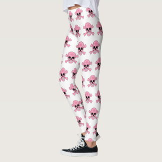 Pink Camouflage Skull And Crossbones Leggings