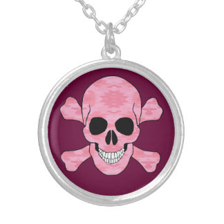 Pink Camouflage Skull And Crossbones Necklace