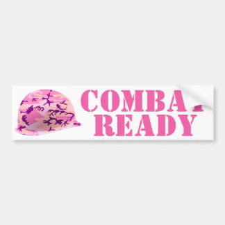 Pink Camouflage Soldier's Helmet Bumper Sticker