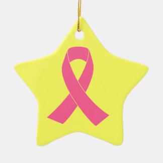 Pink Cancer Awareness Ribbon Ceramic Star Decoration