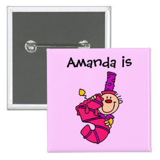 Pink Candle Clown 5th Birthday Button