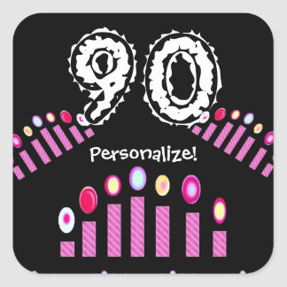 Pink Candles 90th Birthday Personalize! Square Sticker