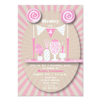 """Pink Candy Buffet Birthday Party Invitation 5"""" X 7"""" Invitation Card"""