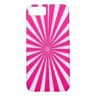Pink Candy Cane Star Burst iPhone 7 Case