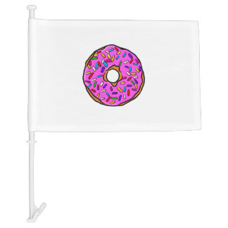 Pink Candy Donut Rainbow Colorful Sprinkles Art Car Flag