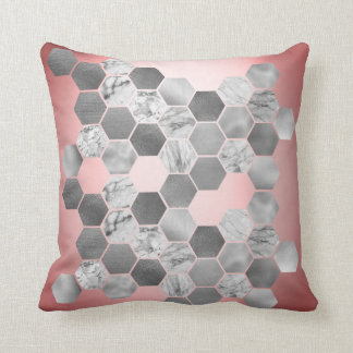 Pink Candy Gold Faux Metall Marble Hexagons Silver Throw Pillow