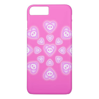 Pink Candy Hearts and Skulls iPhone 7 Plus Case