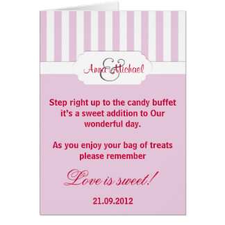 Pink candy stripe Candy Buffet Poem Card
