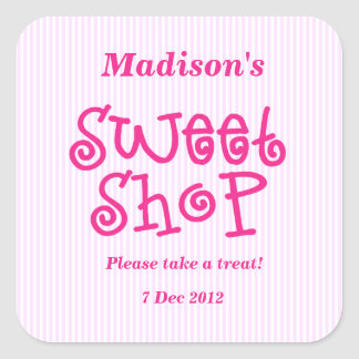 Pink Candy stripe Sweet Shop Sticker