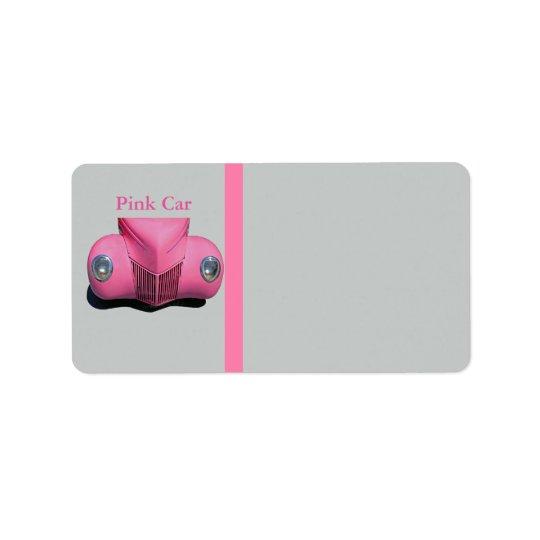Pink Car Address Label