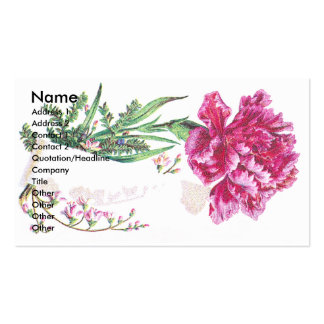 Pink Carnation Bouquet Victorian Trade Card Pack Of Standard Business Cards