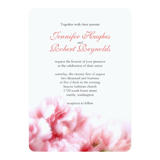 Pink Carnation Wedding Invitation