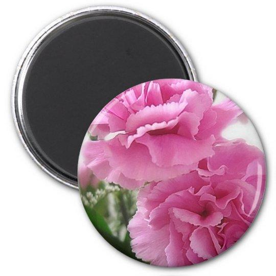 Pink Carnations 1 6 Cm Round Magnet
